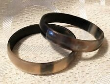 Pair of BANGLE Bracelets - Tortoise Shell Print/Marbled - Slightly Transluscent