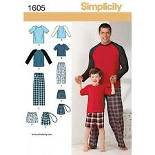 SIMPLICITY SEWING PATTERN BOYS' MEN'S LOUNGEWEAR PANTS SHORTS BAG KNIT TOP 1605