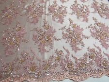 Elegant Blush/ Peach Flowers Embroider And Beaded On A Mesh Lace.prom/ Fabric.