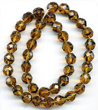 Vintage Tortoise Shell Glass Beads 8mm Faceted Translucent Round 25 Pcs.