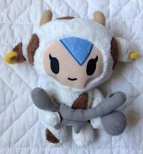 """Toki Doki Mozzarella Plush 9"""" Spotted Cow Bull Blue Hair Earring White Brown"""