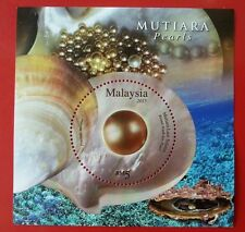 Malaysia Pearls 2015 Shell Decoration (ms) MNH *unusual Glitter Foil Emboss *odd