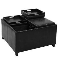 4-Tray-Top Ottoman Storage Table PU Leather Bench Coffee Fruit Brown or Black
