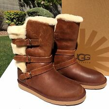 UGG Australia Becket Boots Sz 5 Chestnut Leather Triple Buckle 1005380 NIB $225