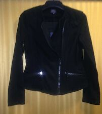 Size 8 M&S Collection Gorgeous Deep Black Jacket with Large Zips Design BNWT