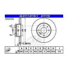 ATE 2 St. 411119 Bremsscheiben  24.0111-0119.1 FIAT