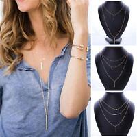 Fashion Women Multilayer Chain Crystal Choker Collar Statement Necklace Gift