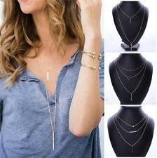 Multilayer Gold Women Simple Chain Crystal Collar Statement Necklace Nice Gift