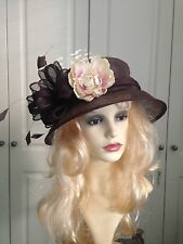 STYLISH BROWN BHS HAT FEATHER FLOWER BOW RACES WEDDING