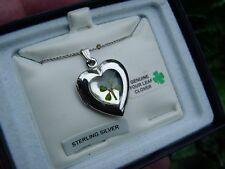 Vintage Sterling silver - genuine 4 LEAF CLOVER - LOCKET necklace - good luck