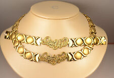 ladies X&O necklace & bracelet set yellow gold finish stainless steel I love you