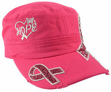 Breast Cancer Awareness - Hot Pink Distressed Hope Hat With Jewels
