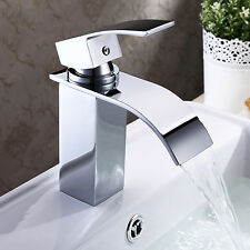 New Design Contemporary Waterfall Bathroom Sink Faucet Chrome Finish Brass
