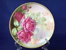 Thomas Sevres Bavaria Hand Painted Pink Peach Roses Signed Collector Plate
