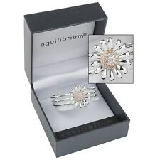 bracelet Equilibrium silver plated daisy triple bar flower Bangle gift boxed