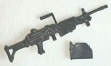 "M249 SAW Machine Gun w/ Case BLACK (1) - 1:18 Scale Weapon for 3-3/4"" Figures"