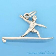 SURFER ON SURFBOARD SURFING 3D .925 Solid Sterling Silver Charm