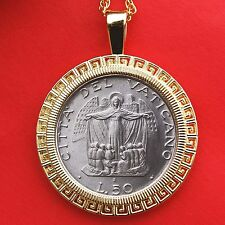 1987 Vatican 50 Lire Unc Coin Mother Mary John Paul II Gold Plated Necklace New