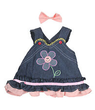 "Summer Denim w/Bow Teddy Bear Clothes Fits Most 14''-18"" Build-A-Bear and More"