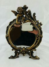 vintage brass Angel Cherub Floral Small Round Metal Vanity Mirror