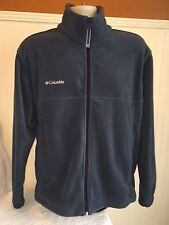 Men's Columbia Fleece Medium Sweatshirt Jacket Zip Up Grey Blue Sweater
