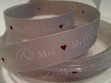 3M BERISFORDS 15mm GREY MR & MRS RIBBON FOR WEDDING GIFTS, DECORATIONS & SEWING