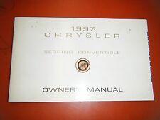 1997 CHRYSLER SEBRING CONVERTIBLE  FACTORY OPERATORS OWNERS MANUAL