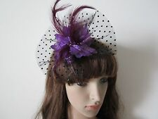 PURPLE Feathers Beaded Hair Fascinators Clip Corsage Brooch Fascinator Black Net