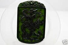 Chinese fine natural nephrite black jade Carving pendant Dragon 龙 #12