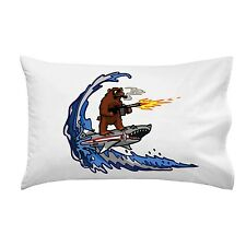 Shark Surfing Bear Funny Surfing Wave Animals Humor Single Pillow Case Soft New