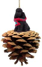 Poodle Black with Sport Cut Pinecone Ornament