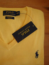£ 125 ralph lauren slim fit 100% laine mérinos col v jaune pull/pull s small