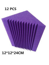 12 PCS Bass Trap Foam Soundproof Studio Foam in Purple Color for Corner Wall