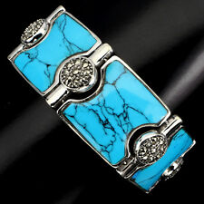 Sterling Silver 925 Huge Genuine Natural Turquoise & Marcasite Bracelet 8 Inches
