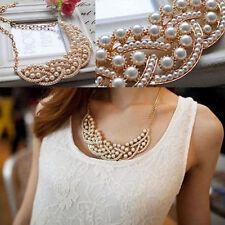 Stylish Women Lady Pearl Hollow Choker Bib Collar Statement Necklace Pendant