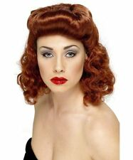 Hermoso Pin Up Girl Peluca Suelto Rizos Auburn Ginger