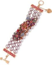 Betsey Johnson Pink Rose Gold-tone Faux-pearl Floral Bracelet