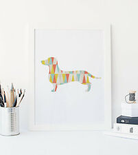 Art Dachshund Print, Geometric Mid Century Modern Nursery Decor, Dog Wall Poster