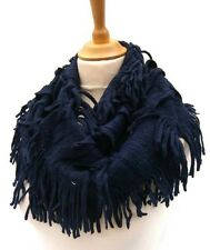 Beautiful Fringed Infinity Snood Scarf Neck Warmer Cowl Navy Blue Acrylic Knit