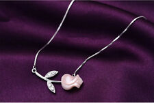 S925 Sterling Silver Valentine's Day Rose Necklace/18k  GP/Cats Eye/2 colors