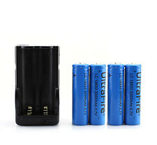 UltraFire 4pcs 18650 3000mAh Rechargeable Battery + Dual Charger for Flashlight
