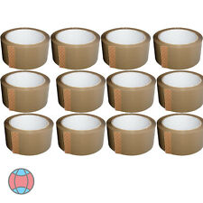 12 BROWN STRONG PARCEL ADHESIVE PACKING TAPE PACKAGING CARTON SEALING 48MM X 66M