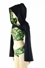 SMALL Black Soft Knit Bolero w/Cannabis Hood Liner (BOLERO ONLY!) Ready To Ship!
