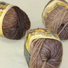 NEW Chunky Hand Coarse Knitting Scores wool yarn 3x50g balls Brown Sand 806