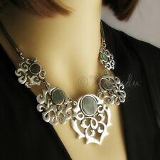 Asian Influence Silver Statement Necklace With Mother Of Pearl Cabochons