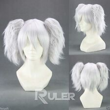 Short Silver Soul Silvery white Anime Cosplay wig+2Clip On Ponytail