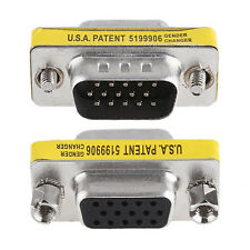 15 Pin VGA SVGA Male to Female Adapter Coupler Connector For Monitor LCD Laptop
