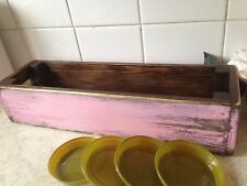 WOODEN FLOWER PLANTER/PINE / WINDOW BOX Vintage Pink Includes 4 Pot Trays