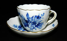 BEAUTIFUL MEISSEN GERMANY BLUE & WHITE CUP & SAUCER BOWL BLUE CROSS SWORDS