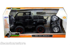 JADA 2007 JEEP WRANGLER WITH EXTRA WHEELS MATT BLACK 1/24 MODEL CAR 97689